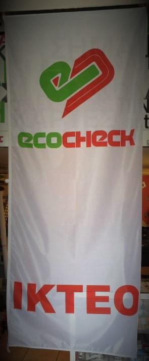 Κάθετη διαφημιστική δίχρωμη σημαία
